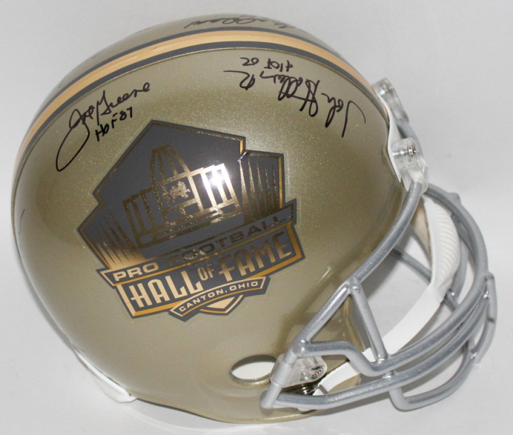 08dc4bd83 Gold NFL HOF Full-Size Helmet Signed by (5) Steelers Legends with John  Stallworth
