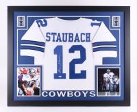 "Roger Staubach Signed Cowboys 35"" x 43"" Custom Framed Jersey (JSA COA)"