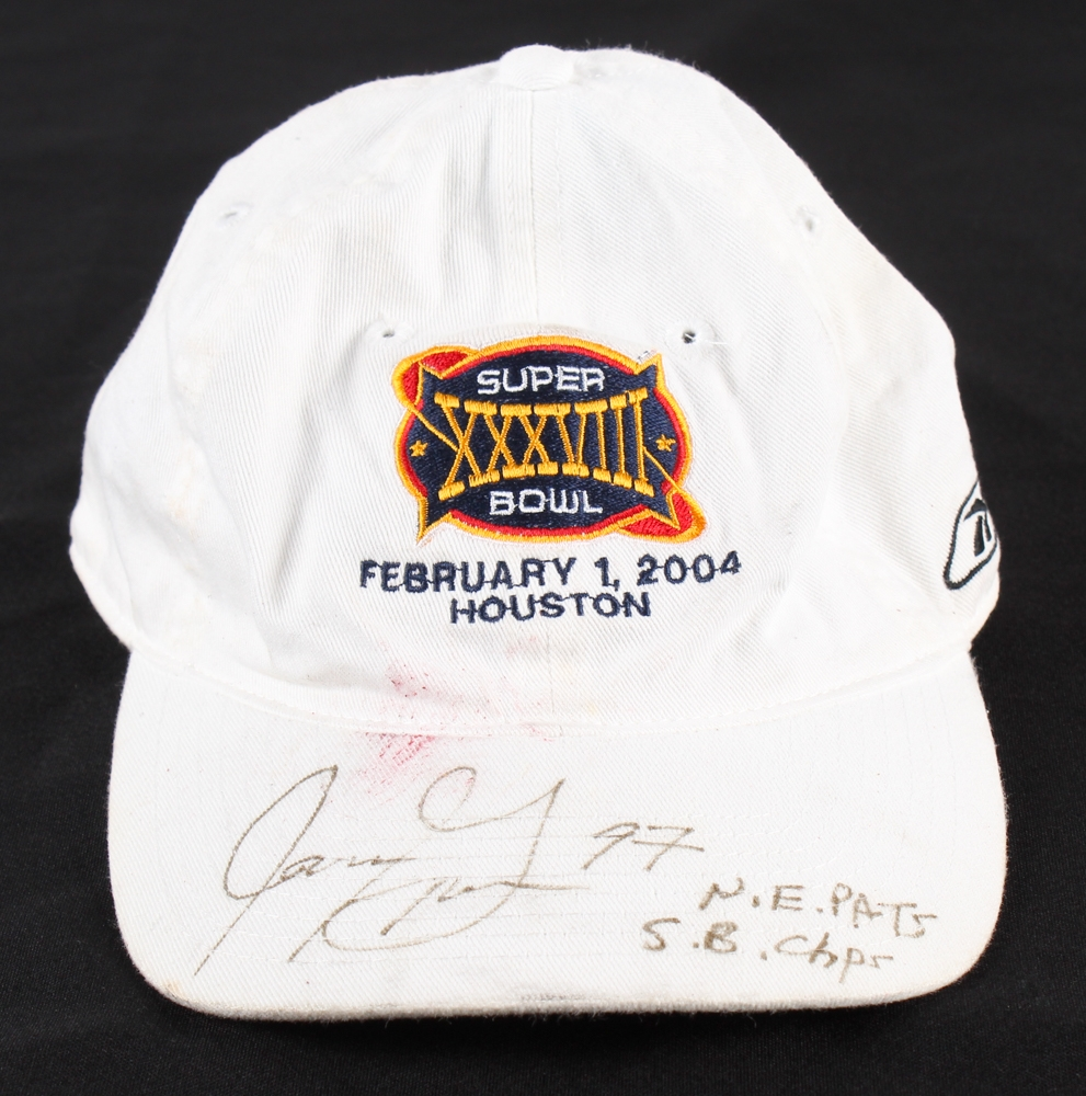 172d8858f56 Jarvis Green Signed Superbowl XXXVIII Football Hat Inscribed