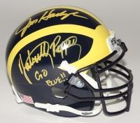 "Jabrill Peppers, Jourdan Lewis & Jim Harbaugh Signed Michigan Wolverines Mini-Helmet Inscribed ""Go Blue!!"" (JSA COA)"