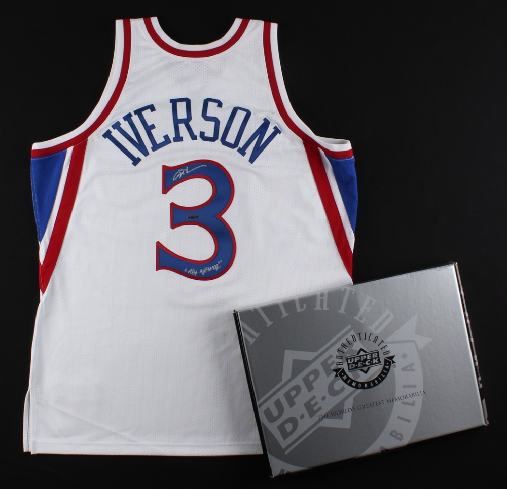 Allen Iverson Signed 76ers Mitchell   Ness Authentic On-Court Rookie Jersey  Inscribed