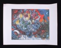 """Marc Chagall """"Bouquet De Fleur Et Amants"""" LE 23.75"""" x 31"""" Lithograph"""
