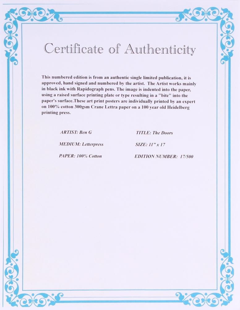 Ben G Signed LE \ The Doors\  11\  x 17\  Letterpress Art Print  sc 1 st  Online Sports Memorabilia Auction   Pristine Auction & Online Sports Memorabilia Auction   Pristine Auction