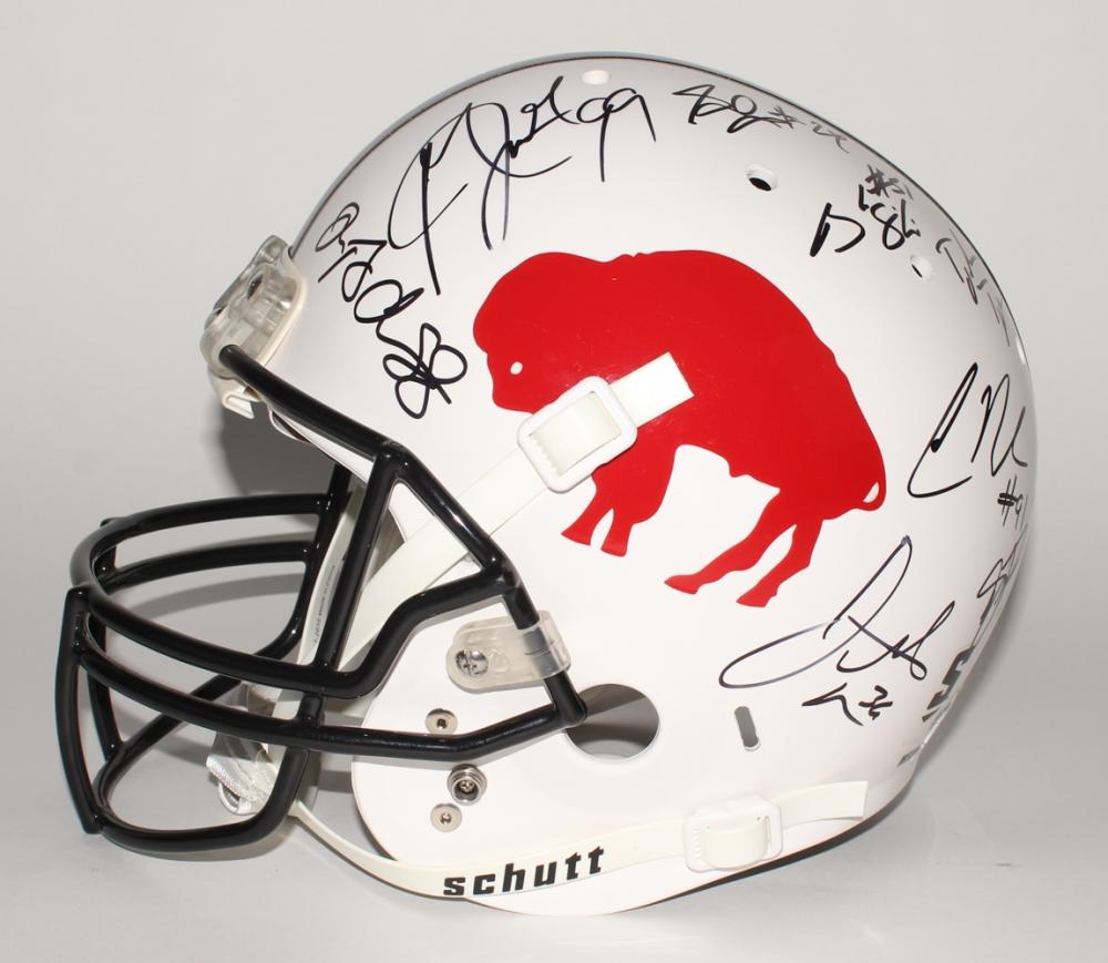 0398df4bedc 2017 Bills Authentic Helmet Signed by (18) with Dezmin Lewis