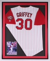 "Ken Griffey Jr. Signed Reds 32.5"" x 40"" Custom Framed Jersey (Schwartz Sports COA)"