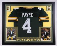 """Brett Favre Signed Packers 35.5"""" x 43.5"""" Custom Framed Jerey Display (Favre COA)"""