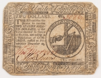 1775 $2 Two-Dollar Continental Currency Note - November 29th, 1775