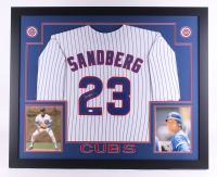 "Ryne Sandberg Signed Cubs 35"" x 43"" Custom Framed Jersey (JSA COA)"