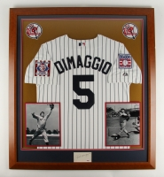 "Joe DiMaggio Signed Yankees 35.5"" x 39.5"" Custom Framed Jersey Display (PSA LOA) at PristineAuction.com"