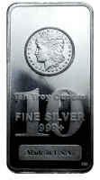 10 oz Bullion .999 Fine Silver Morgan Dollar Design Bar by The Highland Mint (Brilliant Uncirculated)