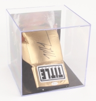 Mike Tyson Signed Gold Title Boxing Glove with Display Case (JSA COA)