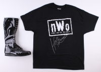 Lot of (2) Hulk Hogan Signed Wrestling Items with T-Shirt & Boots (Schwartz COA)