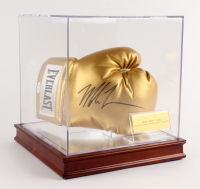 Mike Tyson Signed Gold Everlast Boxing Glove with High Quality Display Case (JSA COA)