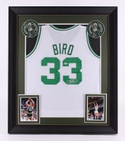 "Larry Bird Signed Celtics 31"" x 36"" Custom Framed Jersey (PSA Hologram)"