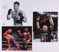 Lot of (3) Signed Fighting 8x10 Photos with Georges St. Pierre, Ken Shamrock & James Toney (Schwartz COA & Leaf COA)