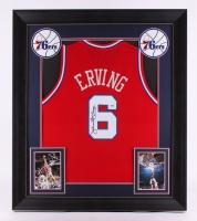 """Julius """"Dr. J"""" Erving Signed 76ers 31.5"""" x 36.5"""" Custom Framed Jersey (PSA COA)"""