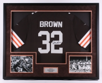 "Jim Brown Signed Browns 34"" x 42"" Custom Framed Shadowbox Jersey Display (SGC LOA)"
