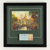 "Thomas Kinkade 50th Anniversary ""Disneyland"" 13.25"" x 16.5"" Custom Framed Lithograph Display with Full Vintage Ticket Book"