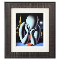 """Mark Kostabi Signed """"Moonlight Meditation"""" 18x20 Custom Framed Original Oil Painting on Canvas"""