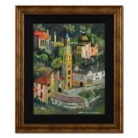 "Alex Zwarenstein Signed ""Port Meiron Wales"" 22x26 Custom Framed Original Oil Painting on Canvas"
