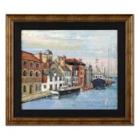 "Alex Zwarenstein Signed ""Weymouth"" 27x31 Custom Framed Original Oil Painting on Canvas"