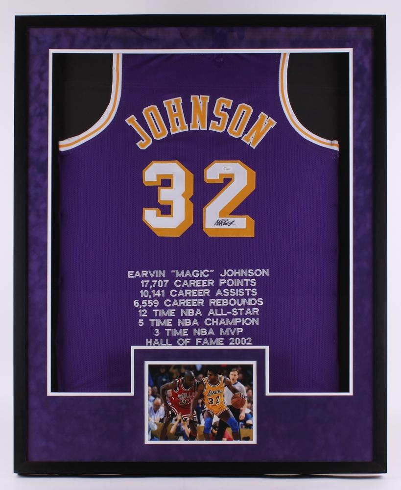 6ddb94b0a60 Magic Johnson Signed Lakers 33.5