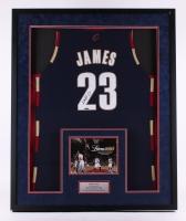 "LeBron James Signed Cavaliers  33.5"" x 41.5"" x 2"" Custom Framed Jersey Shadowbox Display (UDA COA)"