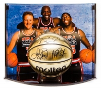 Michael Jordan, Larry Bird & Magic Johnson Signed Team USA Limited Edition Molten Gold Basketball Curve Display (UDA COA)