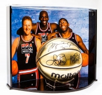 Michael Jordan, Larry Bird & Magic Johnson Signed Team USA Limited Edition Molten Gold Basketball Curve Display (UDA COA) at PristineAuction.com