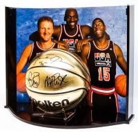 Michael Jordan, Larry Bird & Magic Johnson Signed Team USA LE Molten Gold Basketball Curve Display (UDA COA) at PristineAuction.com