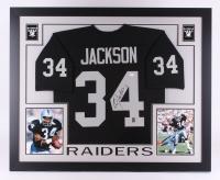 "Bo Jackson Signed Raiders 35"" x 43"" Custom Framed Jersey (JSA COA & Jackson Hologram)"