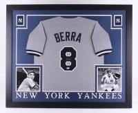 "Yogi Berra Signed Yankees 35"" x 43"" Custom Framed Jersey (JSA COA) (Imperfect)"