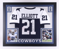 "Ezekiel Elliott Signed Cowboys 35"" x 43"" Custom Framed Jersey (JSA COA) at PristineAuction.com"