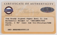 "Tom Brady Signed LE Super Bowl 51 Custom Matte White ICE Authentic Proline Speed Helmet Inscribed ""SB 51 MVP"" & ""466 YDS 2 TD"" with Curve Display Case (Tristar Hologram & Steiner COA) at PristineAuction.com"