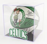 1997-98 Celtics Team-Signed Celtics Logo Basketball with (18) Signatures Including John Thomas, Bryce Bowen, Dana Barros in Display Case (PSA LOA)
