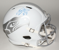 Eddie Lacy Signed Seahawks Custom Matte White Full-Size Speed Ice Helmet (Lacy Hologram)