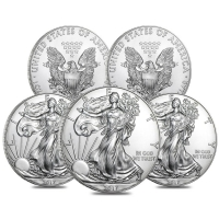 Lot of (5) 2017 $1 American Eagle Silver Dollar $1 Coins (Brilliant Uncirculated)