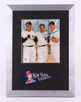"""Mickey Mantle Signed Yankees 13"""" x 18"""" Custom Framed Photo Display with Pennant (PSA LOA)"""