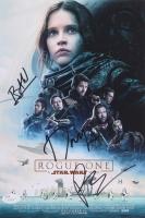 "Felicity Jones, Riz Ahmed & Donnie Yen Signed ""Rogue One: A Star Wars Story"" 8"" x 12"" Poster Print (JSA COA)"