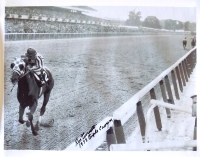 "Ron Turcotte Signed Belmont Stakes 24"" x 35"" Canvas Inscribed ""1973 Triple Crown"" (JSA)"
