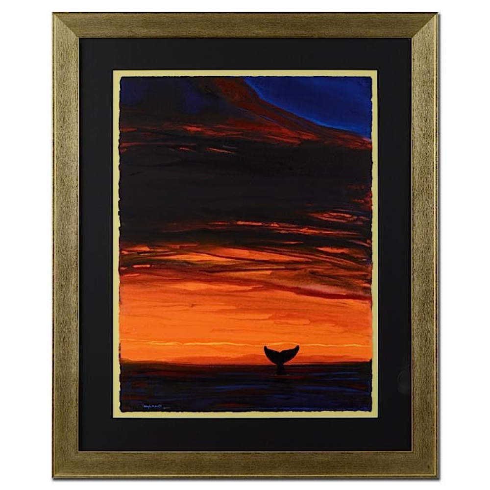 Online sports memorabilia auction pristine auction wyland sunset with whale tail signed original 22 x 30 watercolor on jeuxipadfo Image collections