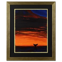 """Wyland """"Sunset with Whale Tail"""" Signed Original 22"""" x 30""""  Watercolor on Deckle-Edge Paper (Custom Framed to 35"""" x 42"""")"""
