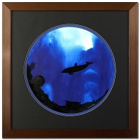 """Wyland """"Dolphin"""" Signed Original Watercolor on 19"""" Round Deckle-Edge Paper (Custom Framed to 31"""" x 31"""")"""