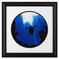 """Wyland """"Turtle"""" Signed Original Watercolor on 19"""" Round Deckle-Edge Paper (Custom Framed to 31"""" x 31"""")"""