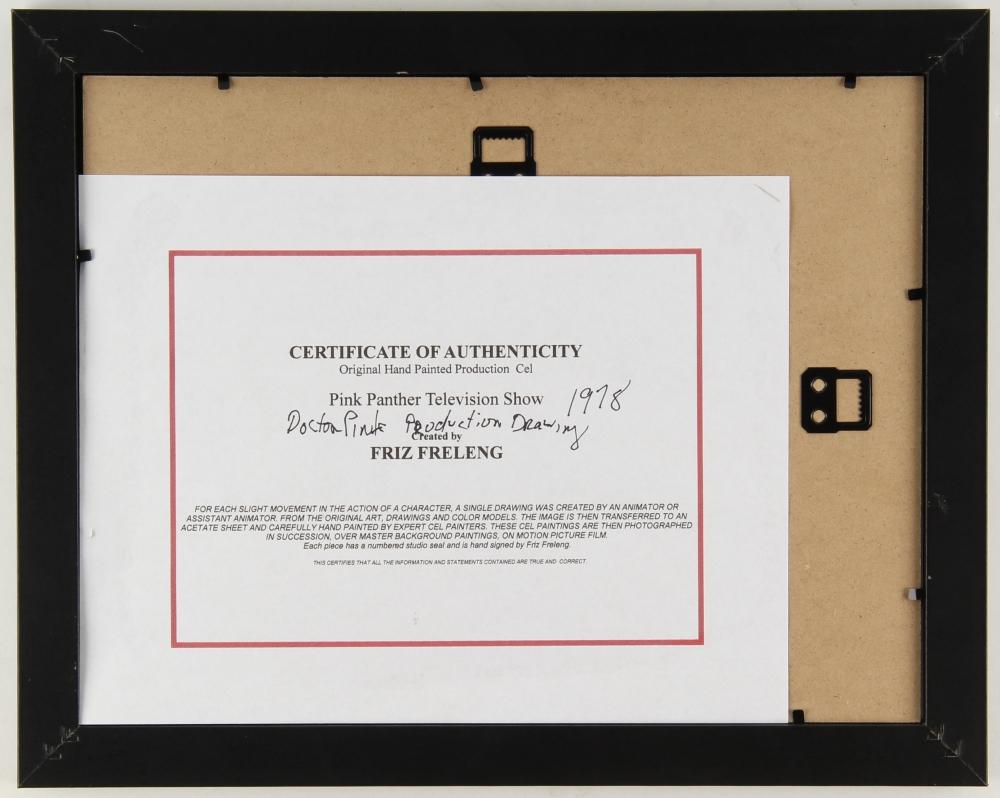 Online sports memorabilia auction pristine auction friz freleng signed original 1975 pink panther 12 x 15 custom framed production drawing jeuxipadfo Images