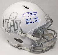 """Tom Brady Signed LE """"Super Bowl 51"""" Custom Matte White ICE Full-Size Authentic Pro-Line Speed Helmet Inscribed """"SB 51 MVP"""" & """"466 YDS 2TD"""" (Steiner COA)"""