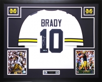 "Tom Brady Signed Michigan Wolverines 35"" x 43"" Custom Framed Jersey (TriStar Hologram)"
