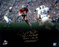 "Joe Montana Signed 49ers 16x20 Photo Inscribed ""4-0 in Super Bowls"", ""11TD's- 0INT's"" & ""Perfect"" (Steiner COA)"