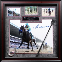 Victor Espinoza Signed American Pharoah 24x24 Custom Framed Photo Collage with Whip & Shoe (Steiner COA)