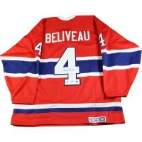 "Jean Beliveau Signed Canadiens Throwback Jersey Inscribed ""HOF 1972"" (Steiner COA)"
